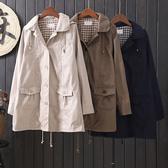 日雜款 鈕扣設計連帽中長版風衣外套 獨具衣格