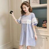 *初心*韓國 條紋 拼接 蕾絲 勾花 喇叭袖 短袖  洋裝 D8605