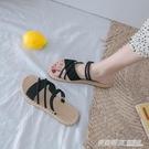 涼鞋女仙女風ins潮新款夏季時尚百搭網紅學生女士平底羅馬鞋 英賽爾