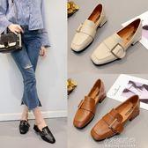 鞋子女春秋季百搭粗跟仙女單鞋復古小皮鞋方頭奶奶鞋『小宅妮時尚』