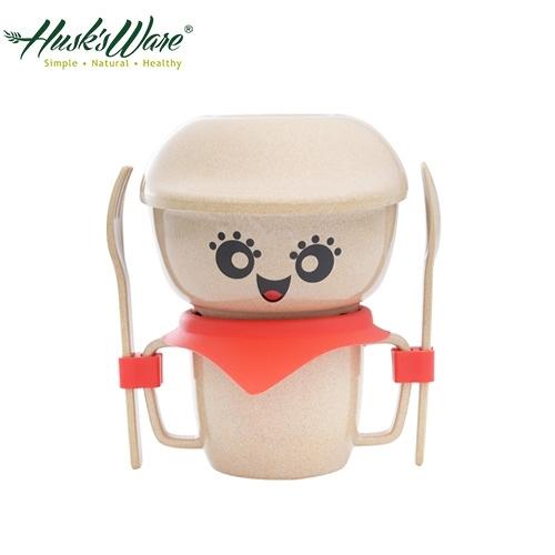 【南紡購物中心】【美國Husk's ware】稻殼天然無毒環保兒童餐具經典人偶迷你款-紅色