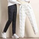 保暖長褲 秋冬新款2021羽絨褲女外穿時尚高腰顯瘦加絨加厚大碼保暖防寒棉褲 艾維朵