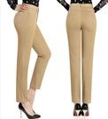 女褲 純棉高腰彈力小直筒白色薄款9分休閒褲 中老年九分褲