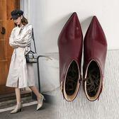 大尺碼女鞋  2019新款歐美時尚帥氣漆皮V口尖頭高跟短靴~3色