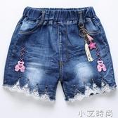 5歲女孩褲子純棉4夏天6女童牛仔短褲8薄款10小學生三分褲公主蕾絲【小艾新品】