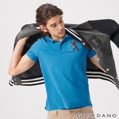 【GIORDANO】男裝勝利獅王漸層刺繡彈力萊卡POLO衫-42 雪花月亮藍