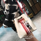 小包包女新款韓版簡約撞色手提包百搭潮單肩側背包水桶包 果果輕時尚