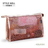新款韓國透明防水洗漱包大容量化妝包 性感蕾絲PVC洗浴旅行收納包「時尚彩虹屋」
