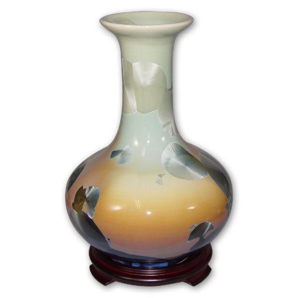 鹿港窯~居家開運結晶釉花瓶~11.5英吋大扁肚瓶;購物清單:1件
