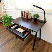 簡約/防水/電腦桌/辦公桌/書桌【DCA037DK+DR】環保粗管90公分A型桌面附抽屜工作桌 Amos