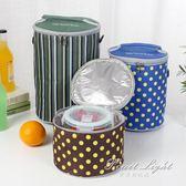 保溫飯盒袋子手提包圓形保溫桶防水鋁箔加厚帶飯包飯盒袋便當餐包 果果輕時尚
