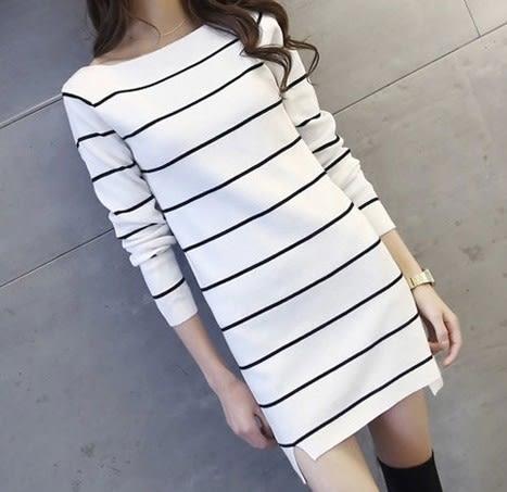 EASON SHOP(GU6497)中長款條紋連身裙女長袖洋裝彈力貼身針織裙衫女上衣韓版側開衩平口長版前短後長