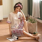 夏季甜美可愛少女短袖睡衣可外穿兩件套家居服  『歐韓流行館』