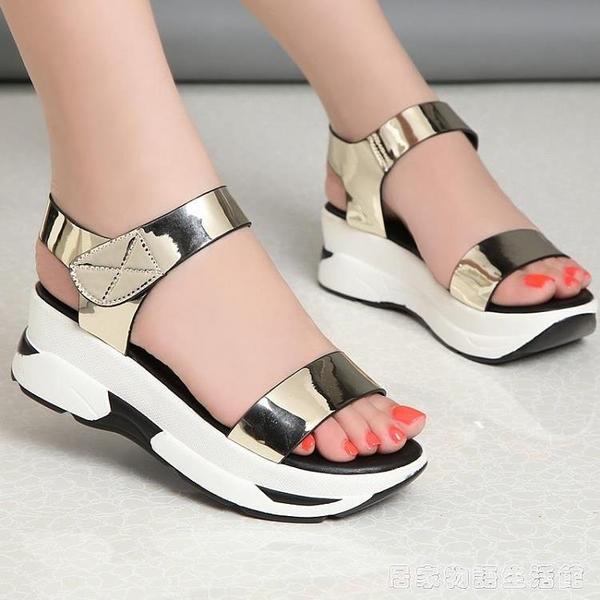 今年新款涼鞋女夏季仙女風厚底楔形厚底學生平底鬆糕鞋 居家物語