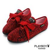 休閒鞋 PLAYBOY 毛呢 綁帶-紅
