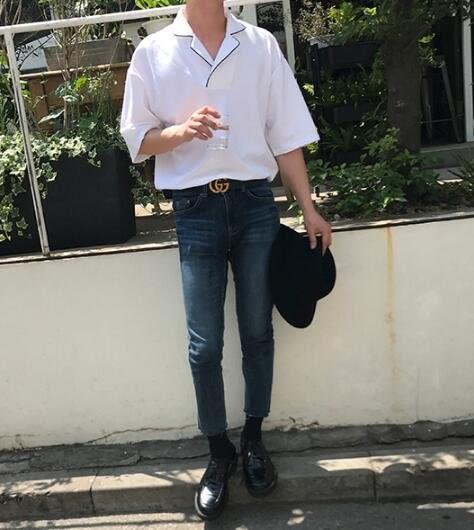 找到自己 MD 韓國 休閒 時尚 男 簡約 寬鬆五分袖 翻領包邊 短袖T恤 特色T恤 素面T