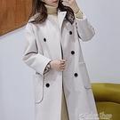 韓版秋冬新款米白寬鬆長款長袖加厚流行顯瘦大衣女學生潮 交換禮物