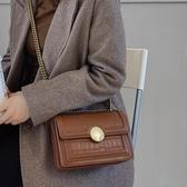 側背包包包女新款潮韓版季百搭單肩錬條復古小方包定型包女斜挎包