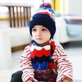 韓版寶寶毛線帽子冬季男童女童冬帽1-2-4-6歲兒童帽子圍巾2件套潮   多莉絲旗艦店