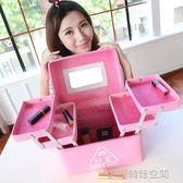 超大化妝包大容量手提多雙層特大號收納盒便攜簡約護膚品女化妝箱  韓語空間