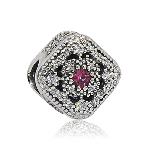 Pandora 潘朵拉 魅力鑲鋯童話寶藏 粉紅水晶 純銀墜飾 串珠 792013NCC
