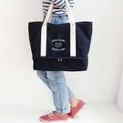 旅行袋 媽媽包 TOOKI & CO【Z416114】實用帆布袋/手提包/行李拉桿包/大容量收納/旅行袋/媽媽包-Bonjour