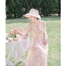 春裝2021年新款女法式復古氣質長裙收腰顯瘦碎花桔梗裙仙女洋裝連衣裙 快速出貨
