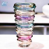 花瓶歐式現代創意插花玻璃花瓶客廳時尚工藝品家居裝飾擺件彩色花器小 全館免運