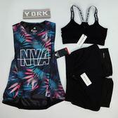 運動套裝 瑜伽服健身房三件套裝女夏跑步T恤背心運動短袖短褲韓國網紗罩衫