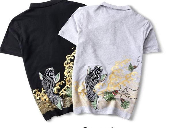 全館83折 潮牌復古中國風刺繡鯉魚POLO衫夏季男裝寬鬆翻領短袖半袖T恤潮流