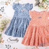 夏日甜美小花荷葉袖傘狀洋裝-2色(棉紗超透氣)(290356)【水娃娃時尚童裝】