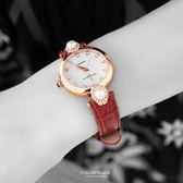 Valentino范倫鐵諾 珍珠貝面爪鑲晶鑽真皮手錶腕錶 名媛必備 柒彩年代【NE885】單支