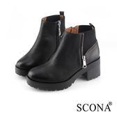 SCONA 蘇格南 全真皮 率性拼接粗跟短靴 黑色 8781-1