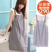愛天使孕婦裝【93303】清新 韓版假兩件吊帶洋裝 孕婦裝