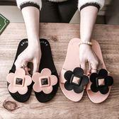 涼拖鞋女士韓版新款室外可愛外出時尚百搭平底外穿一字拖