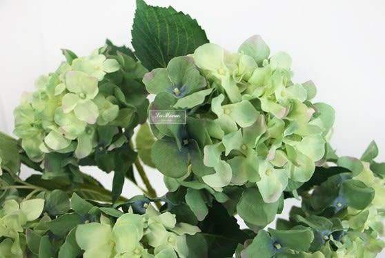 [協貿國際]單枝仿真花絹花/單頭灰綠色漸變繡球花/客廳擺放樣板房裝飾