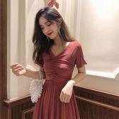 2019新款夏裙子韓版復古裙高腰顯瘦氣質V領長款短袖修身洋裝女滿天星