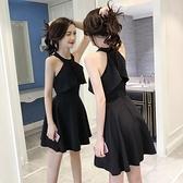 夜店洋裝 掛脖小黑裙夜店裙子女夏氣質復古收腰禮服法國小眾連身裙  芊墨左岸 上新