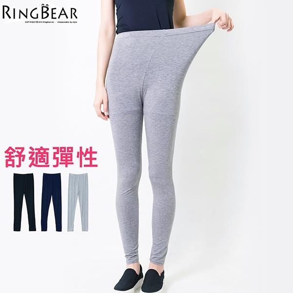 內搭褲--零著輕盈修身素面超高彈力鬆緊腰頭棉質九分內搭褲(黑.灰.藍L-3L)-P126眼圈熊中大尺碼