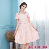 Red House 蕾赫斯-花瓣領點點洋裝(粉色)