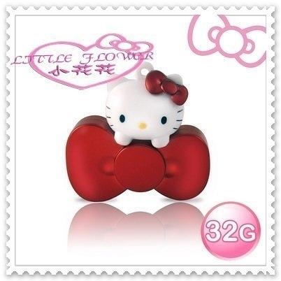 ♥小花花日本精品♥ Hello Kitty 32GB 蝴蝶結 系列 造型 隨身碟 附吊鏈 文具 璀璨紅 21101809