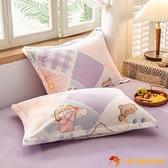 枕頭套珊瑚絨枕套一對裝加厚法蘭絨絨毛單人兒童卡通枕頭罩【小獅子】