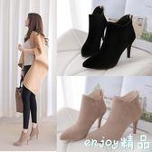 【618好康又一發】短靴 女高跟女鞋秋冬細跟靴子尖頭