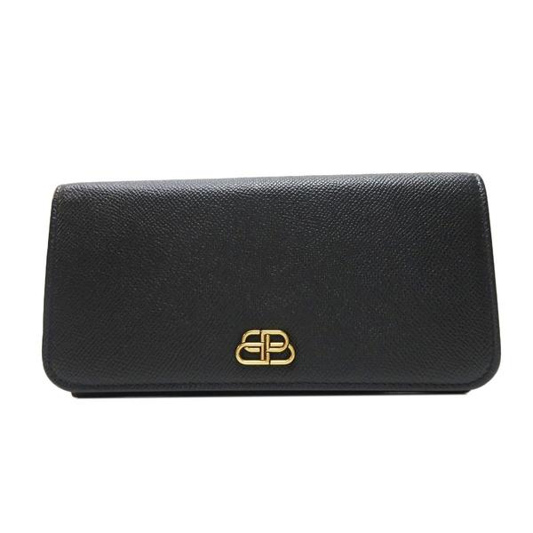 BALENCIAGA 巴黎世家 黑色牛皮扣式長夾 BB Flap Wallet【二手名牌BRAND OFF】
