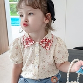 兒童復古襯衫上衣女碎花洋氣襯衣韓版娃娃衫【淘夢屋】