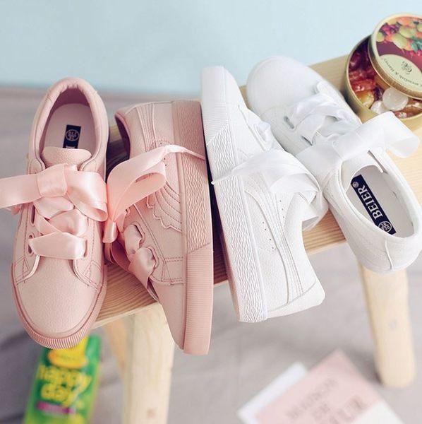 丁果►原宿風格蝴蝶結緞帶平底鞋 皮革休閒鞋