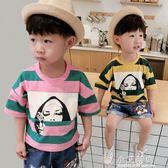 寶寶夏裝男1-3歲潮2男童短袖t恤兒童t男寶寶半袖條紋童裝小童【小艾新品】
