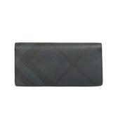 BURBERRY 防水皮革斜格紋對折長夾(深藍色)
