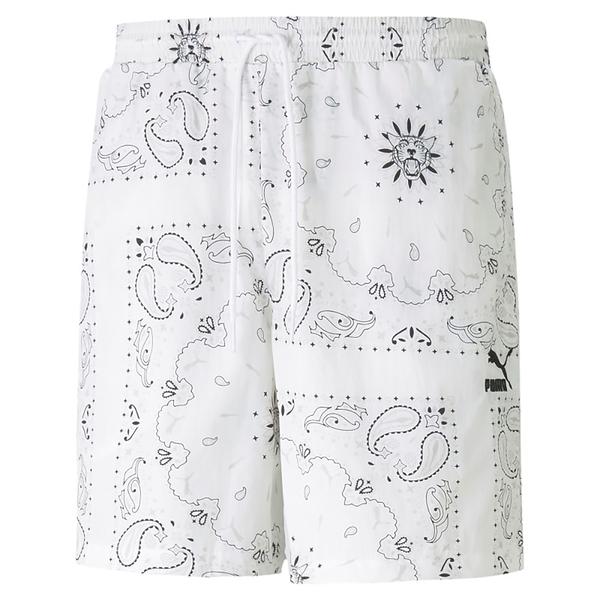 【現貨】PUMA OffBeat 6' 男裝 短褲 梭織 休閒 口袋 滿版 印花 刺繡 白 歐規【運動世界】53254502