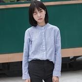 西木復古棉麻立領細條紋簡約長袖襯衫女小清新文藝打底女式上衣
